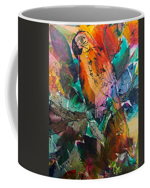 Parrots Coffee Mug featuring the painting Curly by Barbara Colangelo