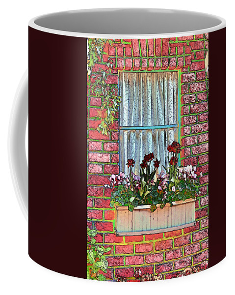 Brick Coffee Mug featuring the photograph Curtains by Tom Prendergast