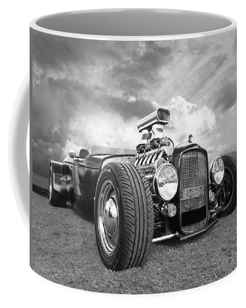 Vintage Hotrod Coffee Mug featuring the photograph Custom Rod - Black And White by Gill Billington