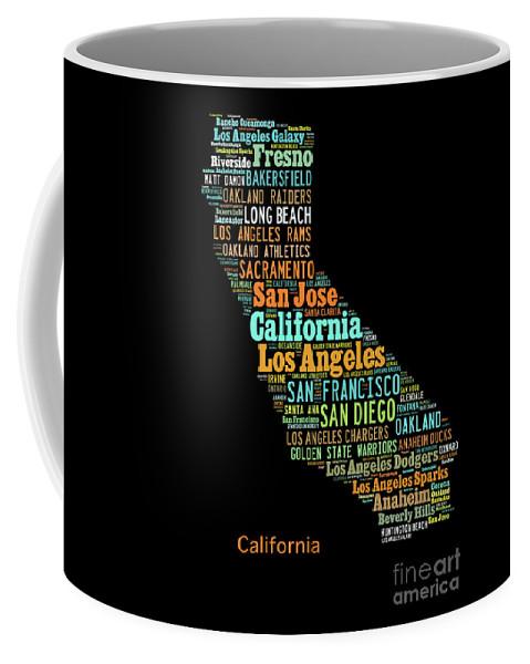 Art Map Coffee Mug featuring the digital art Custom Silhouette Art Print, Pop Art California Map, Modern Style Country Map, Country Maps For Home by Oleksandr Vaznichenko