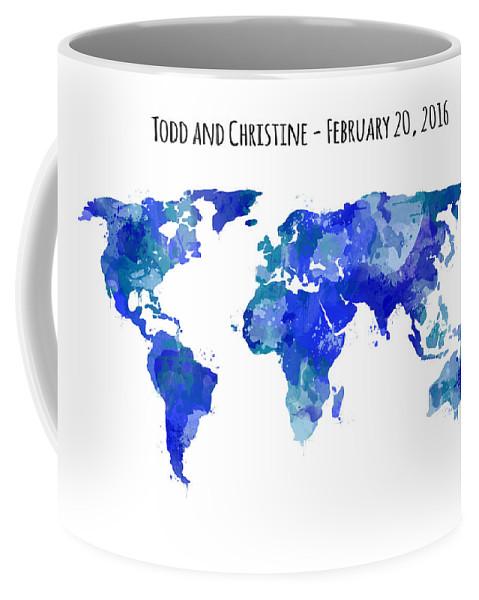Coffee Mug featuring the digital art Custom World Map by Michelle Eshleman