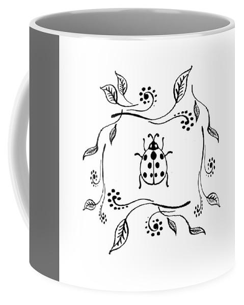 Ladybug Coffee Mug featuring the drawing Cute Ladybug Baby Room Decor Iv by Irina Sztukowski