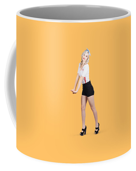 1940s Coffee Mug featuring the photograph Cute Vintage Woman Isolated Over White Background by Jorgo Photography - Wall Art Gallery