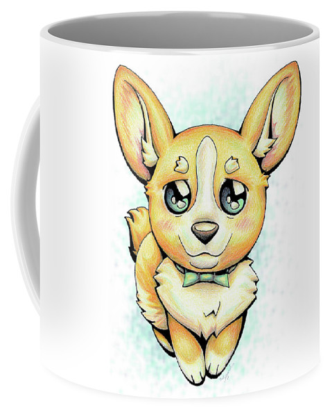 Puppy Coffee Mug featuring the drawing Cutie Corgi by Sipporah Art and Illustration