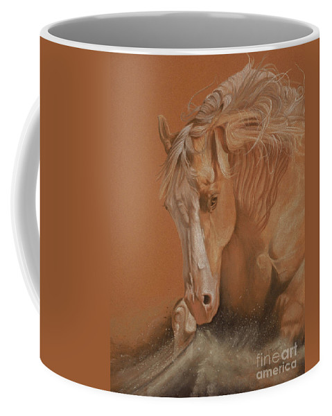 Horse Coffee Mug featuring the painting Cutting Horse by Gail Finger