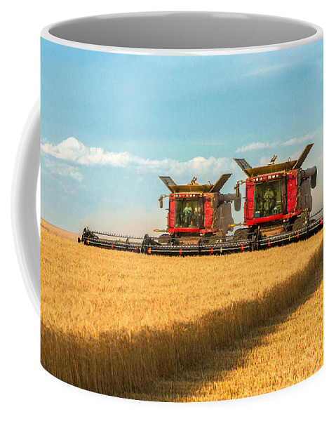 Two Coffee Mug featuring the photograph Cutting Wheat by Todd Klassy