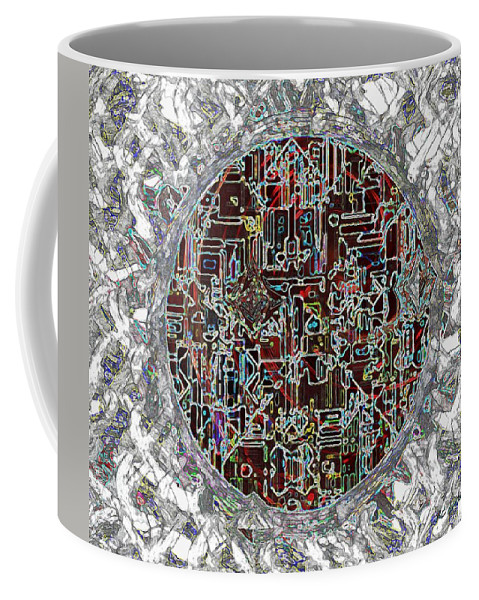 Abstract Coffee Mug featuring the painting Cyborg Heart by RC DeWinter