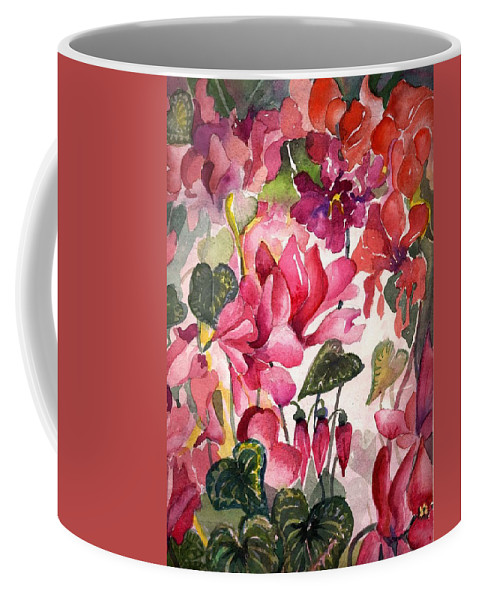 Cyclamen Coffee Mug featuring the painting Cyclamen by Mindy Newman