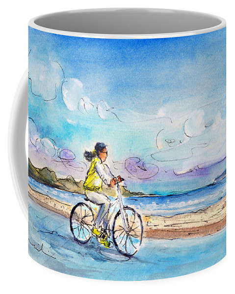 Travel Coffee Mug featuring the painting Cycling In Port De Pollenca In Majorca by Miki De Goodaboom