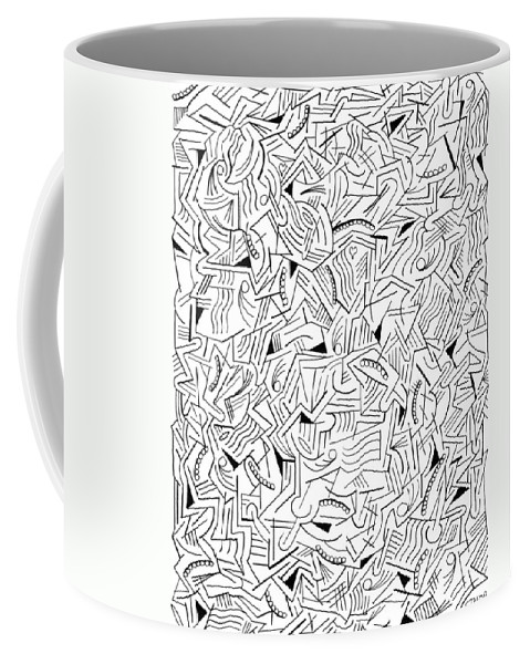 Abstract Coffee Mug featuring the drawing Cyclonal by Steven Natanson