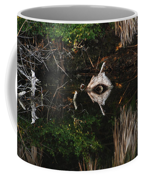 Green Coffee Mug featuring the photograph Cyclops In Reflection by Rob Hans