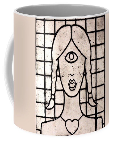 Clay Coffee Mug featuring the painting Cyclops by Thomas Valentine
