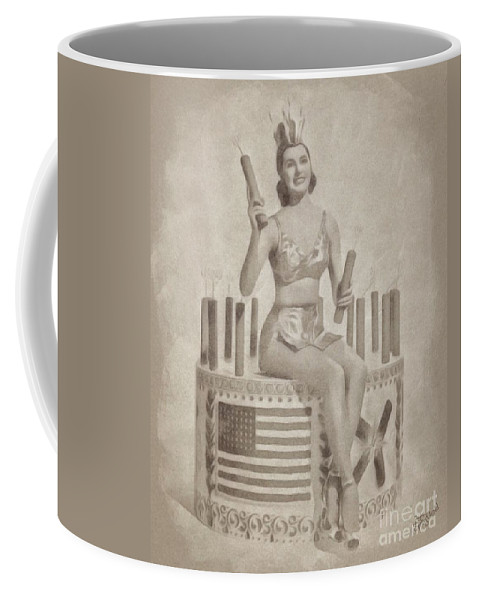 Hollywood Coffee Mug featuring the drawing Cyd Charisse Hollywood Actress, Pinup And Dancer by John Springfield