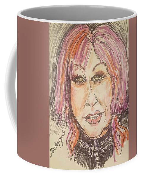 Cyndi Lauper Coffee Mug featuring the drawing Cyndi Lauper by Geraldine Myszenski
