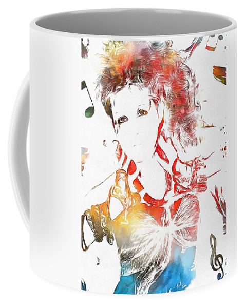 Cyndi Lauper Watercolor Coffee Mug featuring the painting Cyndi Lauper Watercolor by Dan Sproul