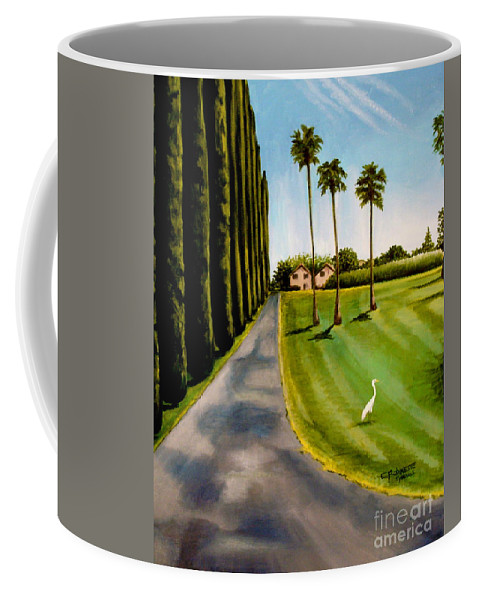 Landscape Coffee Mug featuring the painting Cypress Palms by Elizabeth Robinette Tyndall