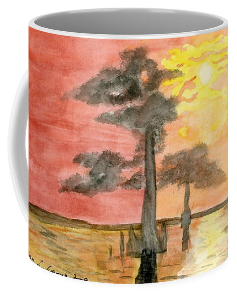Cypress Trees Coffee Mug featuring the painting Cypress Sunset by Alexis Grone
