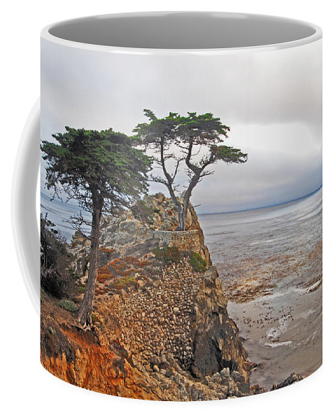 Cypress Coffee Mug featuring the photograph Cypress Tree At Pebble Beach by Gary Beeler