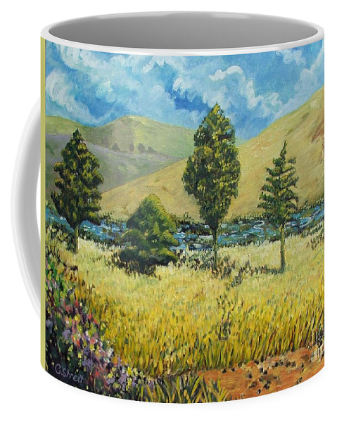 South African Landscape Coffee Mug featuring the painting Cypresses At Lydenburg by Caroline Street