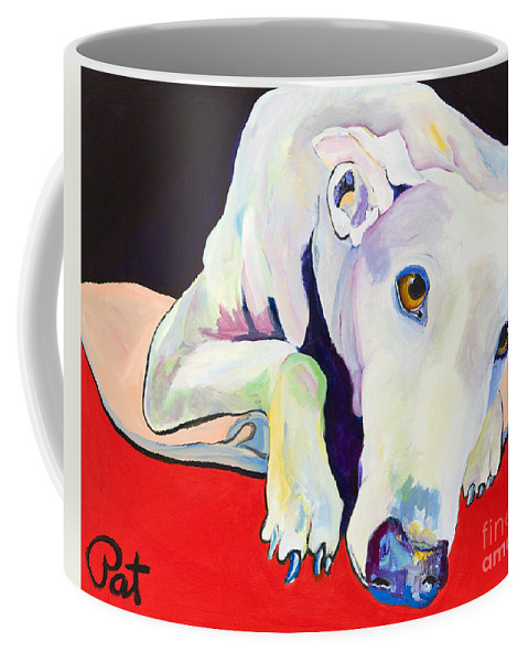 Animals Pets Greyhound Coffee Mug featuring the painting Cyrus by Pat Saunders-White