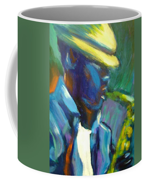 Sax Player Coffee Mug featuring the painting D by Jan Gilmore