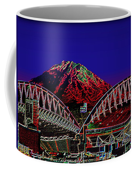 Seattle Coffee Mug featuring the photograph Da Mountain And Stadia 3 by Tim Allen