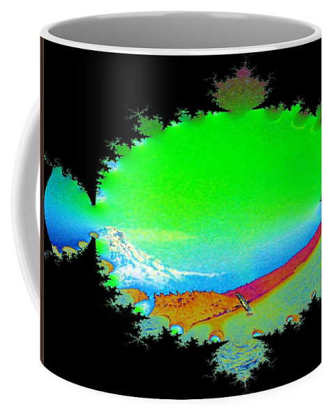 Washington Coffee Mug featuring the digital art Da Mountain Sail In Fractal by Tim Allen
