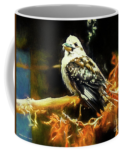 Mona Stut Coffee Mug featuring the mixed media Kookaburra Kingfisher Dacelo-novaeguineae by Mona Stut