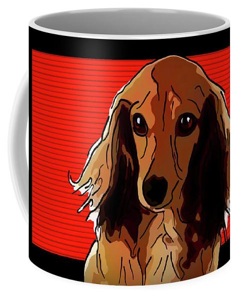 Dachshund Coffee Mug featuring the digital art Dachshund 2 by Alexey Bazhan