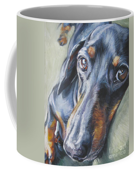 Dog Coffee Mug featuring the painting Dachshund Black And Tan by Lee Ann Shepard
