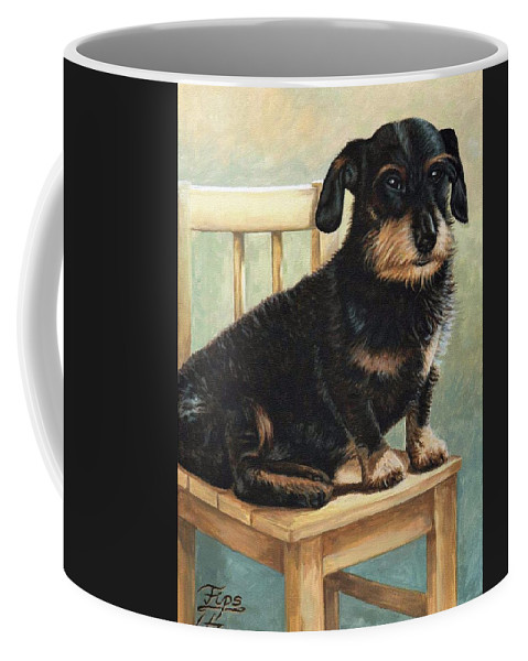 Dog Coffee Mug featuring the painting Dachshund by Nicole Zeug
