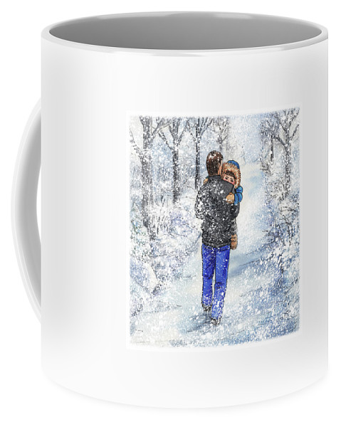 Dad Coffee Mug featuring the painting Dad And Child In The Winter Snow by Irina Sztukowski