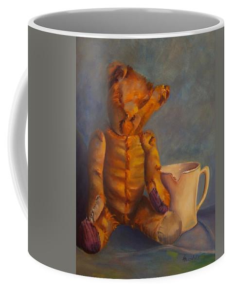 Teddy Bear Coffee Mug featuring the painting Dad's Teddy by Rebecca Hauschild