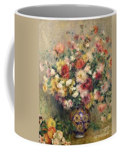 Dahlias Coffee Mug featuring the painting Dahlias by Pierre Auguste Renoir