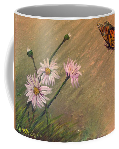 Watercolor Coffee Mug featuring the painting Daisies And Butterfly by Loretta Luglio