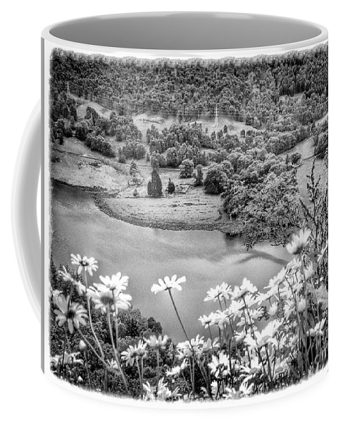 Loch Tummel Coffee Mug featuring the photograph Daisies At Queens View In Greyscale by Joan-Violet Stretch