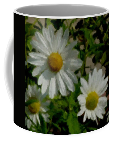 Daisy Coffee Mug featuring the digital art Daisies By The Number by Anita Burgermeister
