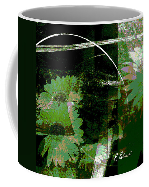 Abstract Coffee Mug featuring the mixed media Daisy Chain by Ruth Palmer