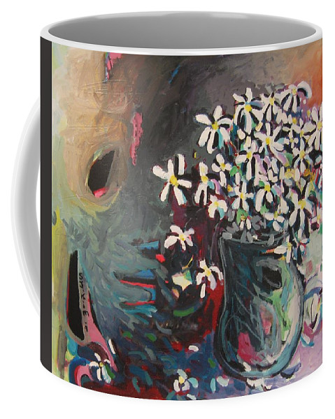 Daisy Paintings Coffee Mug featuring the painting Daisy In Vase by Seon-Jeong Kim