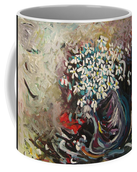 Daisy Paintings Coffee Mug featuring the painting Daisy In Vase3 by Seon-Jeong Kim