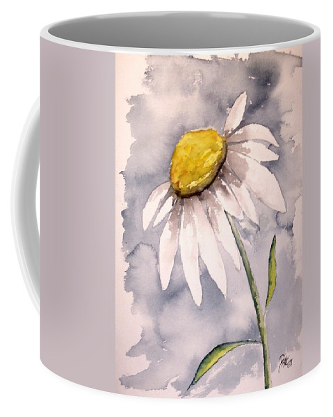 Daisy Coffee Mug featuring the painting Daisy Modern Poster Print Fine Art by Derek Mccrea