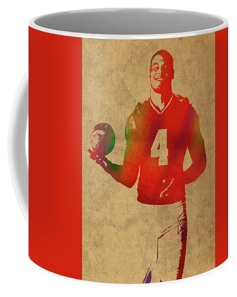Dak Prescott Coffee Mug featuring the mixed media Dak Prescott Nfl Dallas Cowboys Quarterback Watercolor Portrait by Design Turnpike