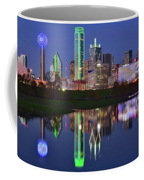 Dallas Coffee Mug featuring the photograph Dallas Blue Hour Reflection by Frozen in Time Fine Art Photography