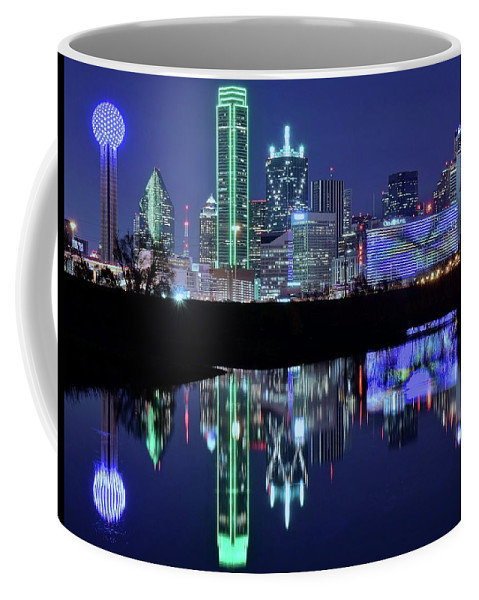Dallas Coffee Mug featuring the photograph Dallas Cowboy Blue Along The Riverfront by Frozen in Time Fine Art Photography
