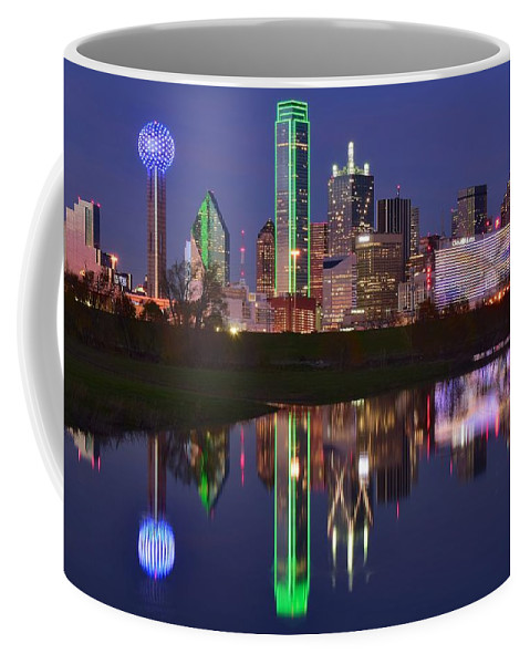 Dallas Coffee Mug featuring the photograph Dallas Reflects by Frozen in Time Fine Art Photography