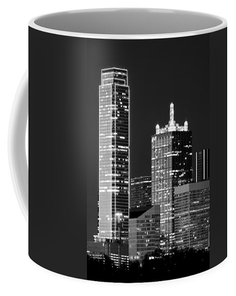 Dallas Coffee Mug featuring the photograph Dallas Shapes Monochrome by Rospotte Photography