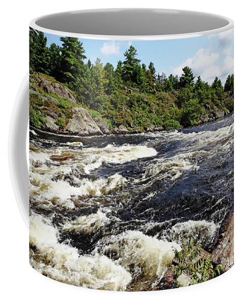 Dalles Rapids Coffee Mug featuring the photograph Dalles Rapids French River II by Debbie Oppermann