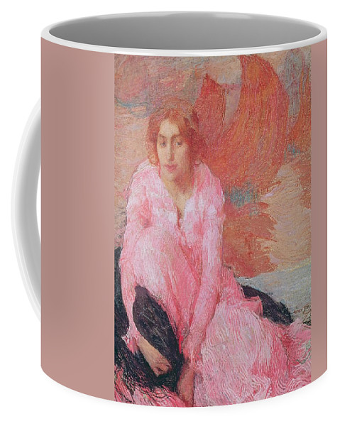 Dame En Rose By Edmond-francois Aman-jean (1858-1936) Coffee Mug featuring the painting Dame En Rose by Edmond Francois Aman Jean