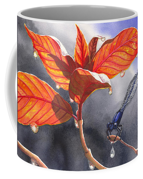 Raindrops Coffee Mug featuring the painting Damsel Fly by Catherine G McElroy