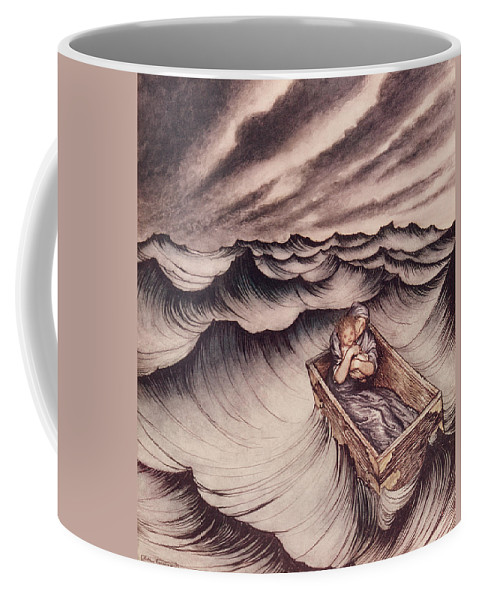 Arthur Rackham Coffee Mug featuring the drawing Danae And Her Son Perseus Put In A Chest And Cast Into The Sea by Arthur Rackham